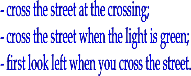 - cross the street at the crossing;